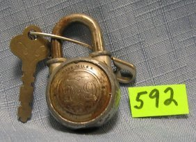 Antique American Made Pad Lock With Key