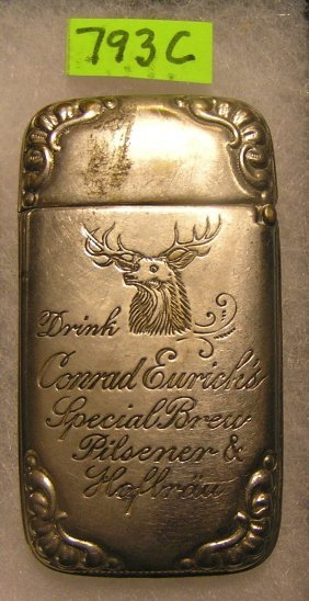 Antique Advertising Silver Match Case