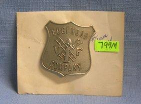 Antique Edgewood Company 1 Fire Dept Badge