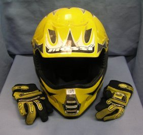 Mossi Motorcycle Helmet And Riding Gloves