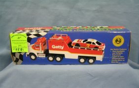 Vintage Getty Toy Race Car And Transport Truck