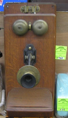 Vintage Oak Wall Mount Telephone