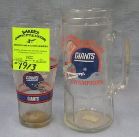 Pair Of New York Giants Football Glasses