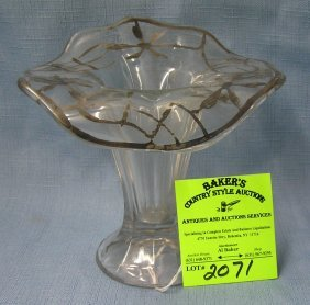 Antique Silver Overlay Flower Shaped Flower Vase