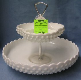 Fenton Milk Glass Two Tiered Snack Serving Set