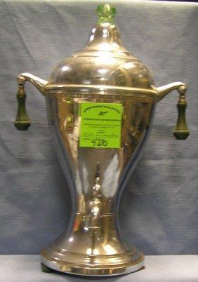 Antique Chrome Over Brass Coffee Pot