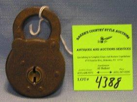 Antique Cast Iron Padlock By Fram Six Lever