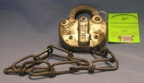Antique Railroad Padlock And Chain