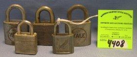 Group Of Five Vintage Padlocks