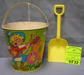 Vintage All Tin Child's Sand Pail And Shovel Set