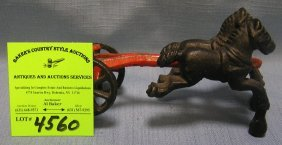 Cast Iron Two Horse Tandem Team Front End Piece For Toy