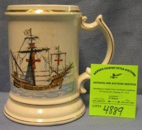 Vintage Clipper Ship Decorated Shaving Mug