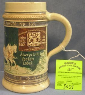 German Beer Stein W/ Horse Drawn Beer Wagon