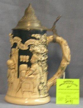 Nice Early German Beer Stein With Pewter Lid