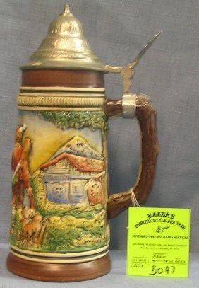 Vintage German Beer Stein With Pewter Lid