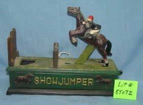 Hand Painted Cast Iron Show Jumper Mechanical Bank