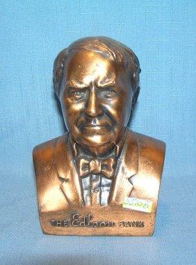 Thomas Edison Figural Cast Metal Bank