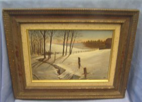 Early 20th Century Oil Painting Winter Landscape