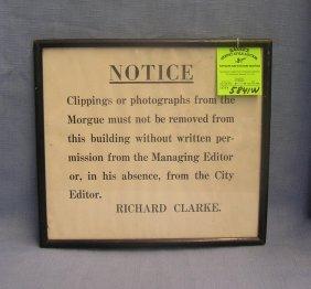 Antique Framed Morgue Sign