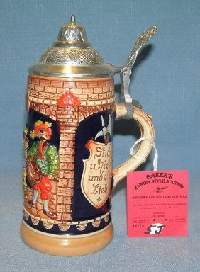 Paint Decorated German Beer Stein