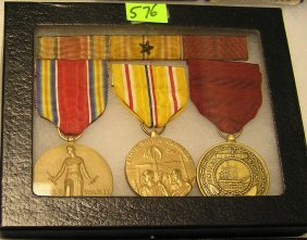 Wwii Mil Vets 3 Piece Medal, Ribbon & Bar Set