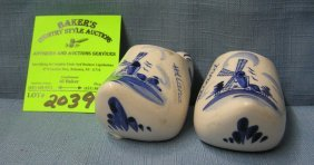 Pair Of Vintage Delftware Dutch Shoes