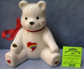 Porcelain Seated Bear Bank