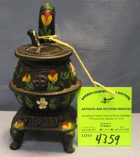 Hand Painted Miniature Cast Iron Pot Bellied Stove