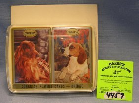 Two Decks Of Vintage Dog Related Playing Cards