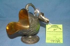 Early Silver Plate And Gold Line Scuttle And Scoop