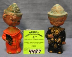 Pair Of Composition Japanese Nodders S&p Shakers