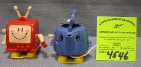 Pair Of Vintage Wind Up Mechanical Walking Toys