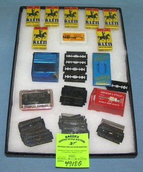 Collection Of Vintage Razor Blades And Accessories