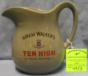 Vintage Hirum Walkers Whiskey Water Pitcher