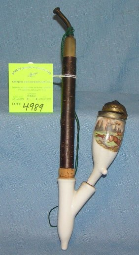 Antique German Porcelain And Wood Pipe