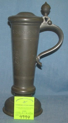 Antique Pewter Beer Tankard With Lion Decorated Front