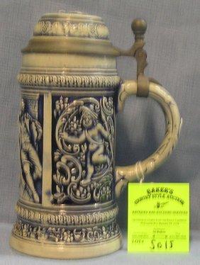 German Beer Stein With Pewter & Porcelain Figural Lid