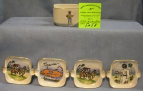 Souvenir Ashtray Set From Nassau Bahamas