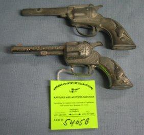 Pair Of Vintage Cast Metal Western Guns