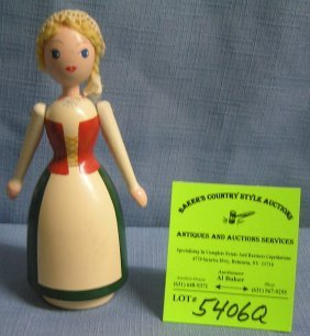 Antique Hand Painted Wooden Doll