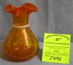 Early Hand Blown Amber Crackle Glass