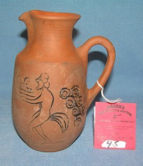 Hand Painted Earthenware Pitcher