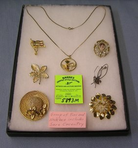 Group Of Costume Jewelry Pins And Necklace