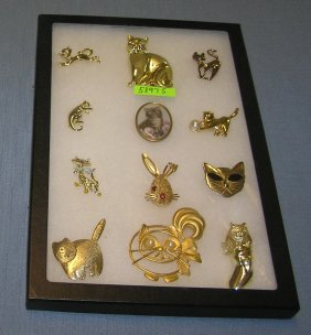 Large Group Of Quality Costume Jewelry Cat Pins