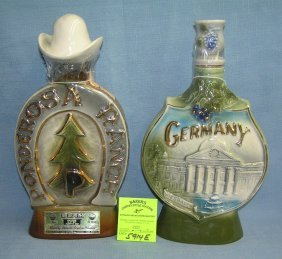 Pair Of Vintage Jim Beam Decanter Bottles