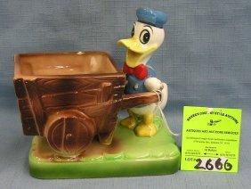 Vintage Donald Duck And Wheelbarrow Figurine