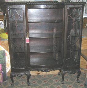 Great Early Antique Curved Glass China Cabinet