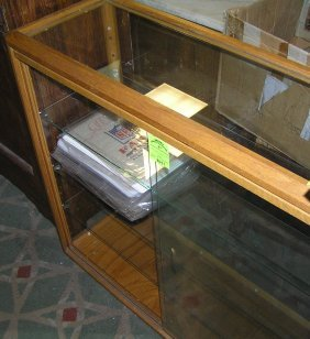 Vintage Oak And Glass Four Tier Display Cabinet