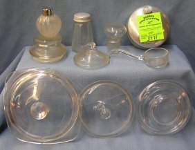 Large Group Of Vintage Glass Lids And More
