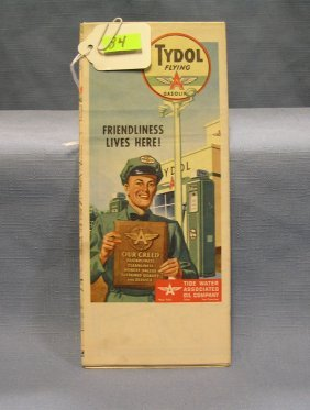 Vintage Tydol Flying A Gasoline Road Map